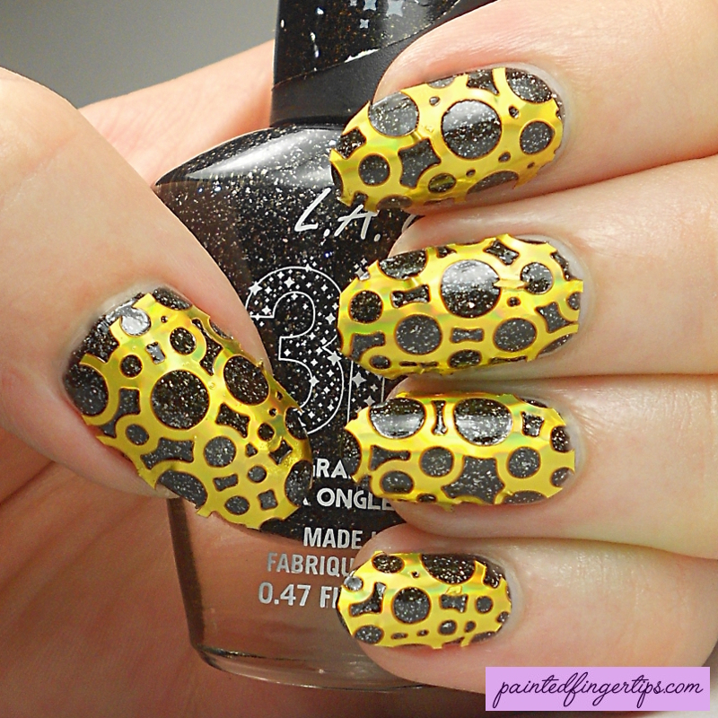 Golden bubble nail stencils nail art by Kerry_Fingertips