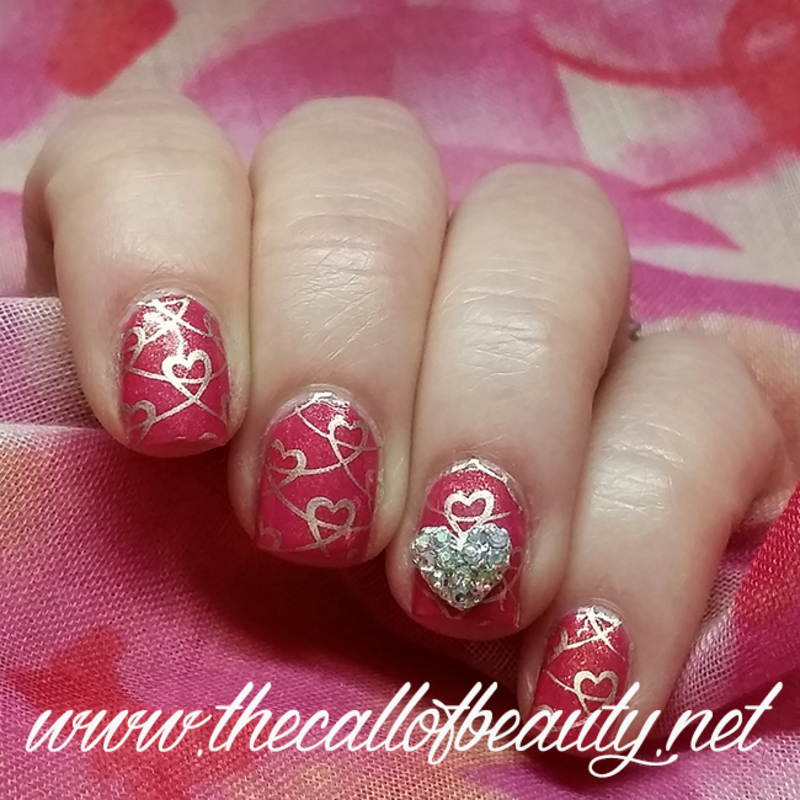 Hearts nail art by The Call of Beauty