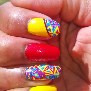 Bright Geometric Fun nail art by Jackie Bodick