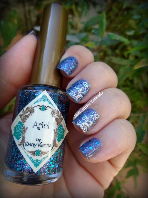 Ariel + Dirty Berry nail art by Dora Cristina Fernandes