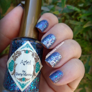 Ariel + Dirty Berry nail art by Dora Cristina Fernandes