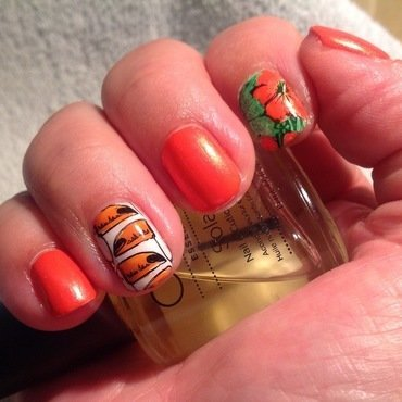 Tropical colors nail art by Ronit