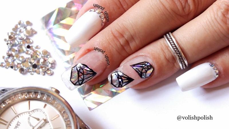 Diamond nail art nail art by Volish Polish