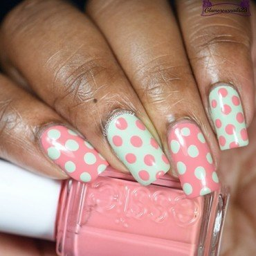 Mint & Salmon Dotticure nail art by glamorousnails23
