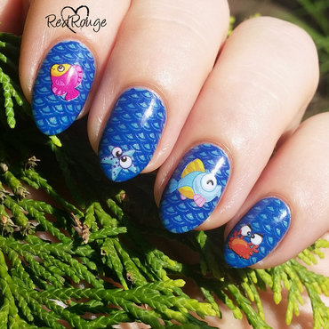 sea animals nail art by RedRouge