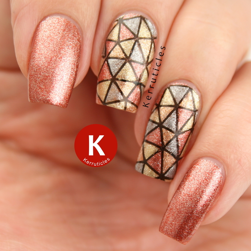 """Geometric """"Molten Metals"""" nail art by Claire Kerr"""