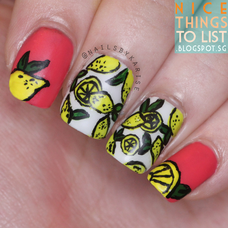 Lemon Nails nail art by Karise Tan