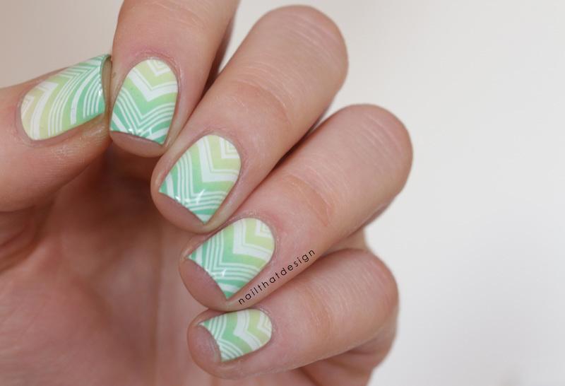 green gradient stamping nail art by NailThatDesign