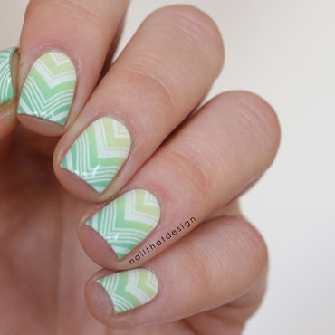 green gradient stamping nail art by NailThatDesign