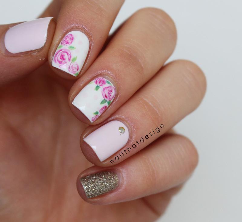 cute roses nail art by NailThatDesign