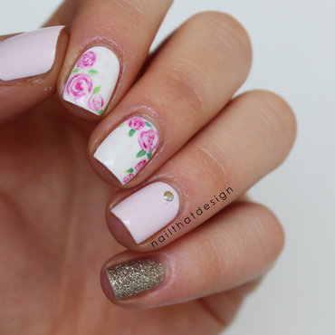 cute roses nail art by NailThatDesign
