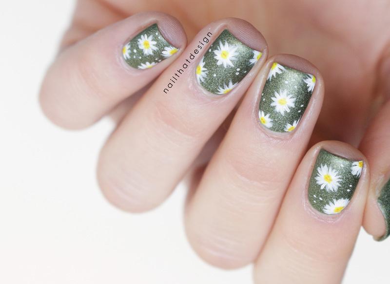 Army Daisies  nail art by NailThatDesign