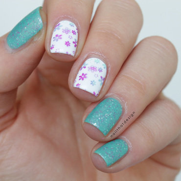 Funny flower stamping  nail art by NailThatDesign