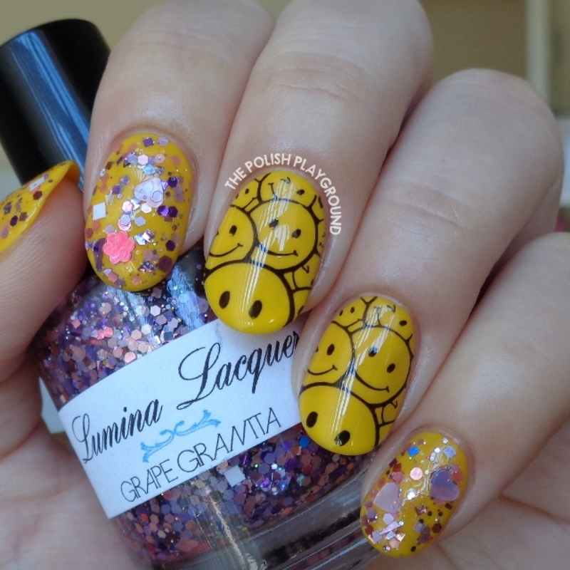 Yellow Smiley Face Stamping with Purple Glitter nail art by Lisa N