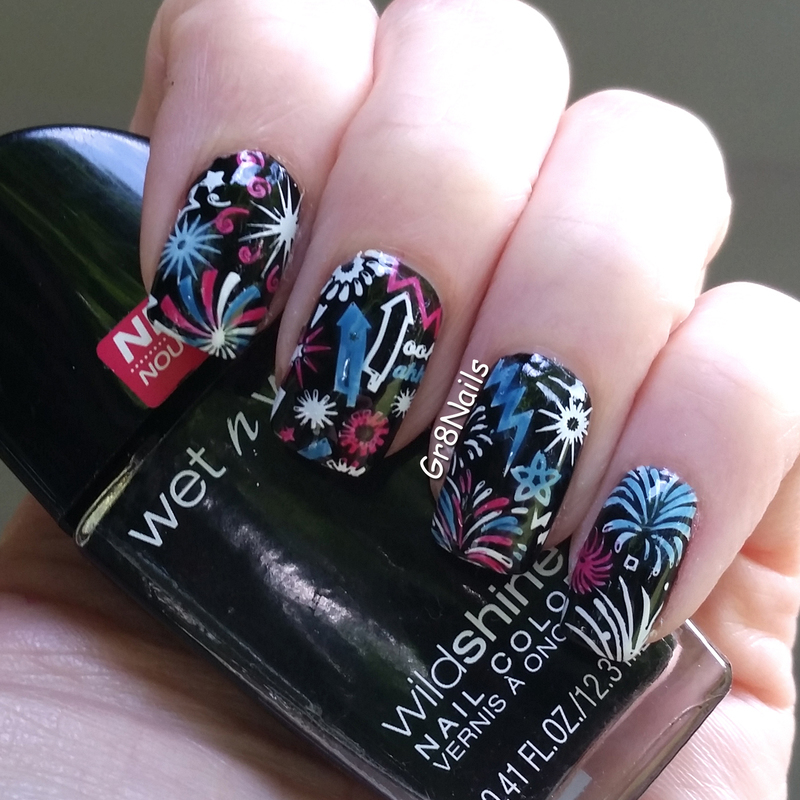 Fire Works nail art by Gr8Nails