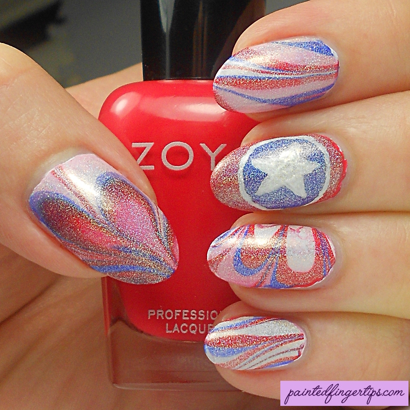 Captain America Water Marble nail art by Kerry_Fingertips