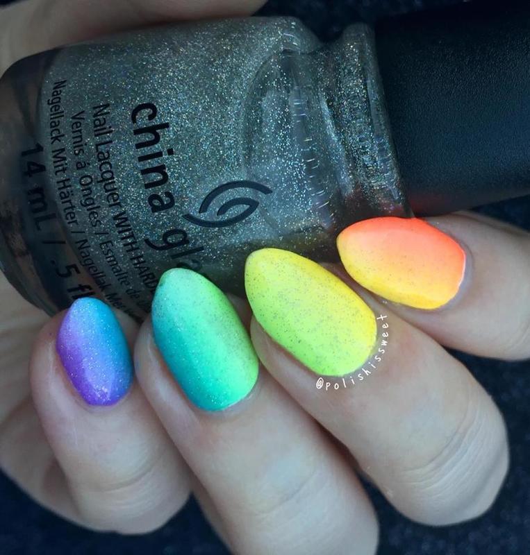 Rainbow Gradient nail art by PolishIsSweet