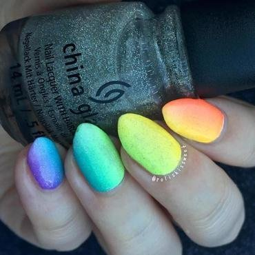 Rainbow Gradient nail art by PolishIsSweet