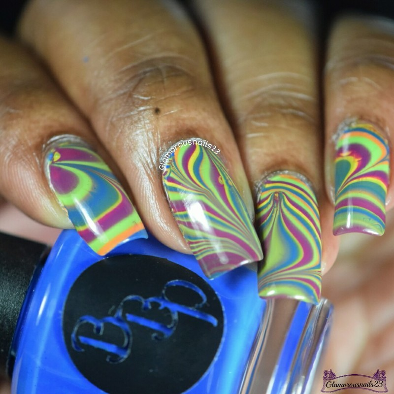 Watermarble Wednesdays: Summer Playlist nail art by glamorousnails23