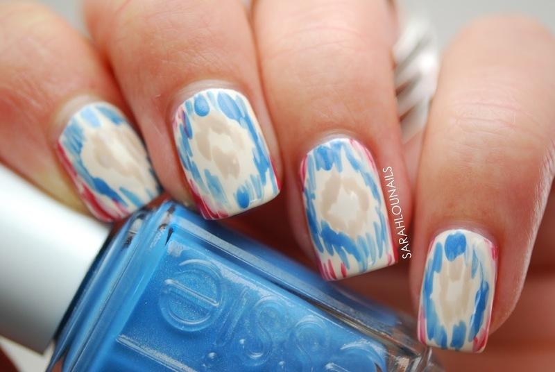 TOMS Ikat Pattern Nails! nail art by Sarah S