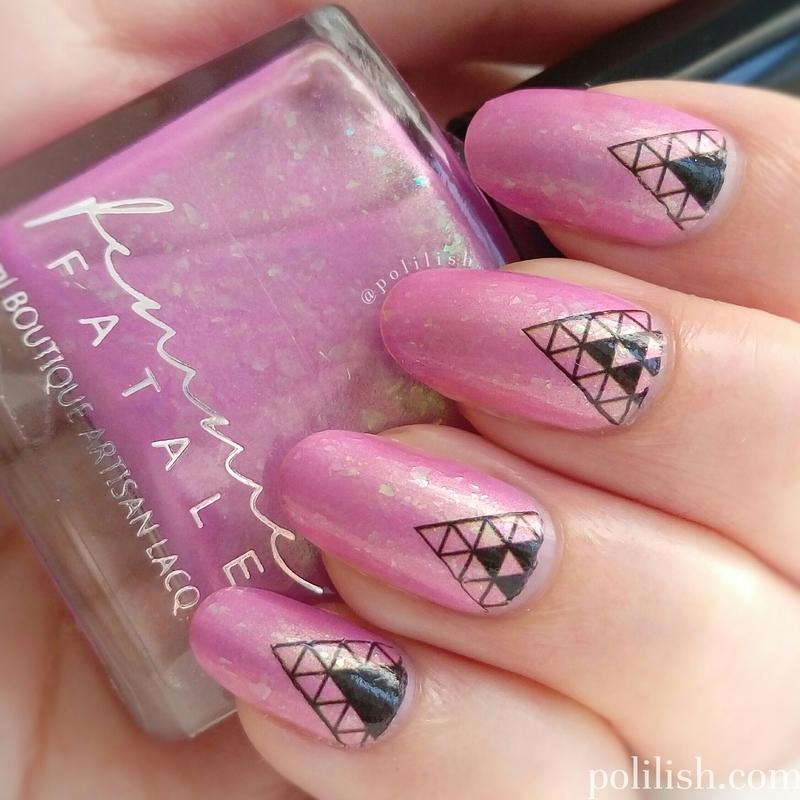 Geometric nail art using water decals nail art by polilish