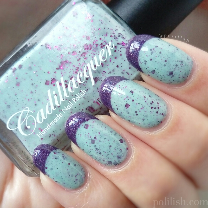Mint and purple French tips nail art by polilish