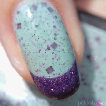 Mint and purple French tips macro) nail art by polilish