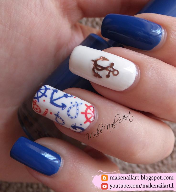 Summer Nautical Nail Art Design nail art by Make Nail Art