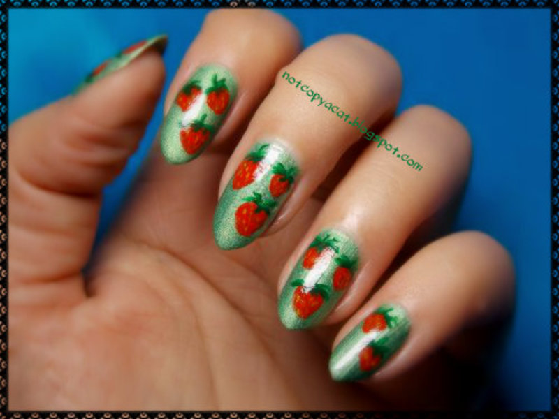 Strawberry fields forever! nail art by notcopyacat