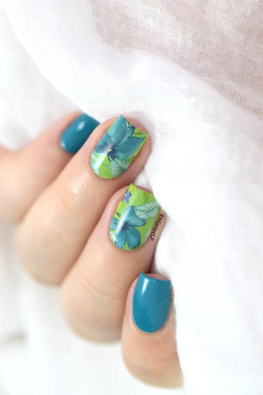 Blue Irises nail art by Marine Loves Polish