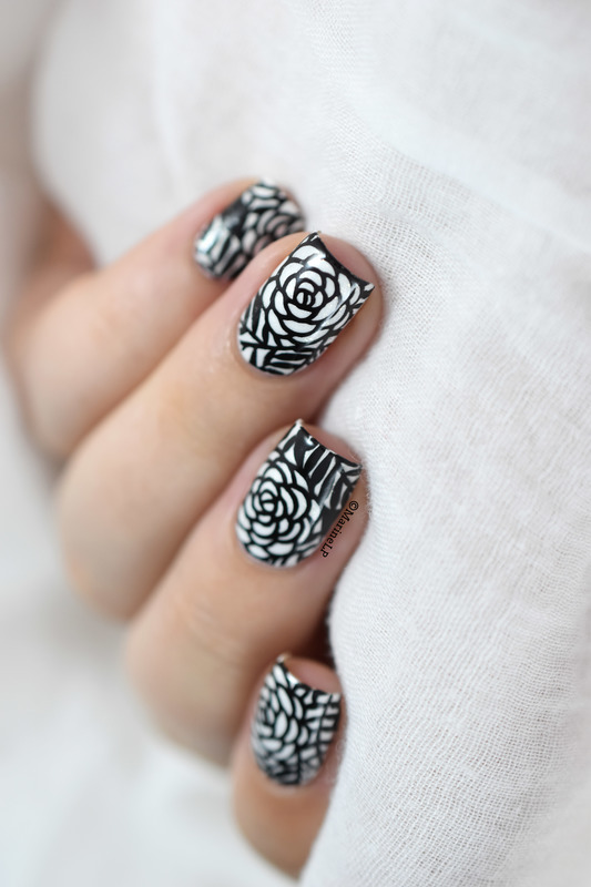 B&W roses nail art by Marine Loves Polish