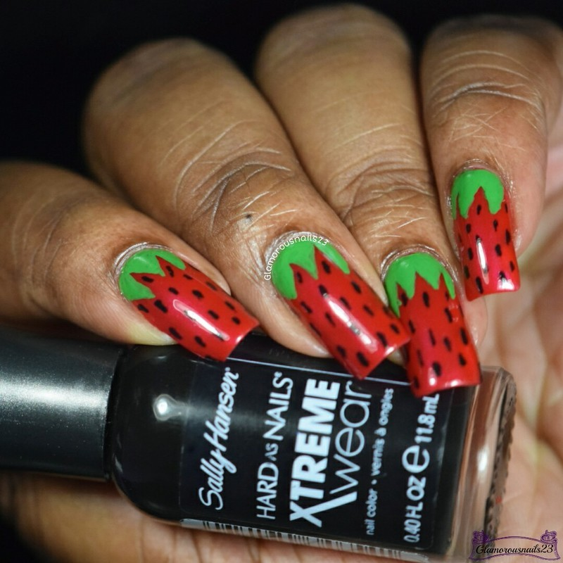 HPB Presents: Strawberries nail art by glamorousnails23