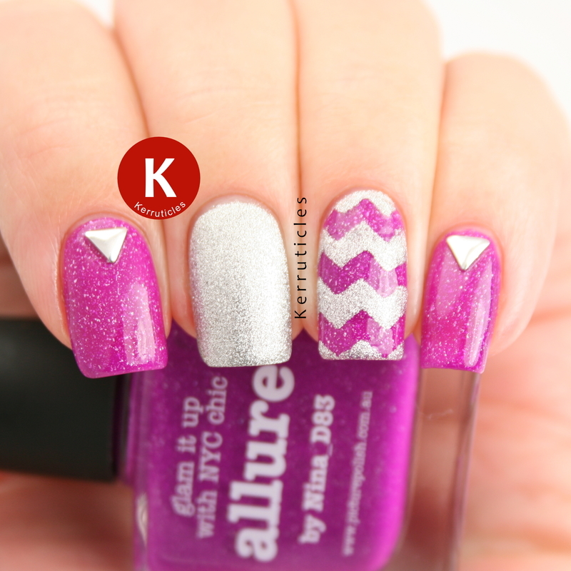 Pink and silver zigzags nail art by Claire Kerr