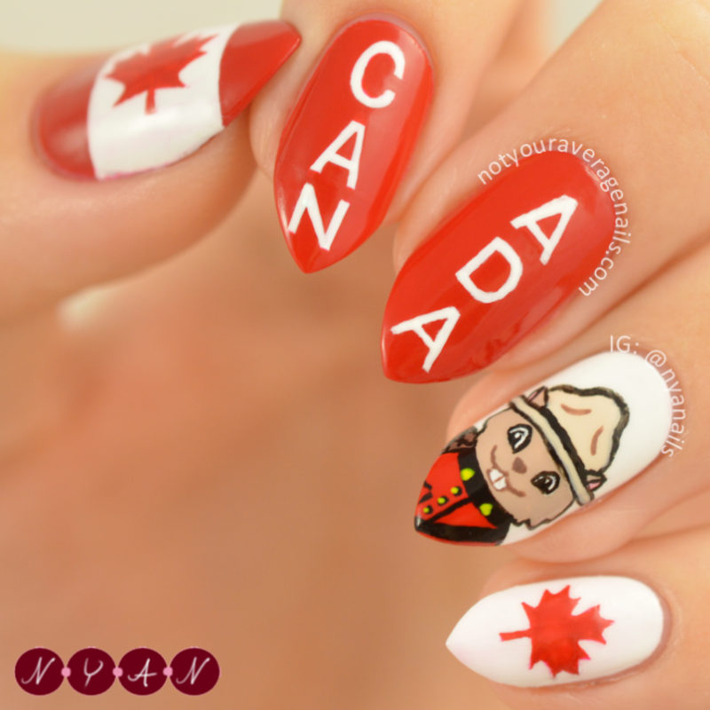 Canada Day 2016 nail art by Becca (nyanails)