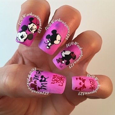 Mickey and Minnie in Love nail art by Workoutqueen123