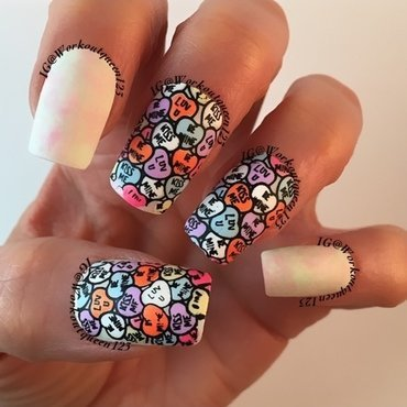 Candy Hearts nail art by Workoutqueen123