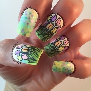 Tuples mean spring is here nail art by Workoutqueen123