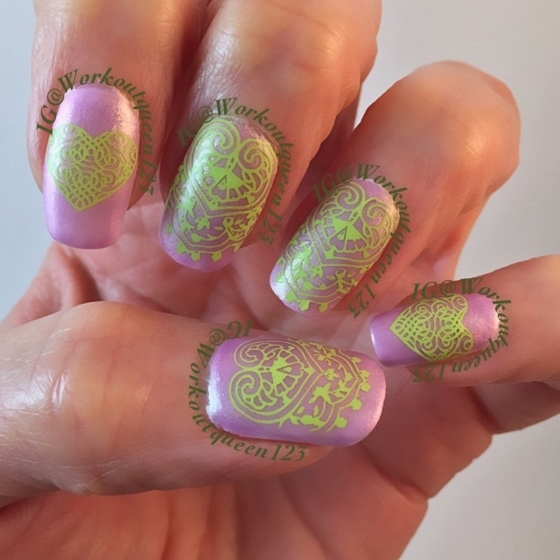 Lace and Hearts nail art by Workoutqueen123
