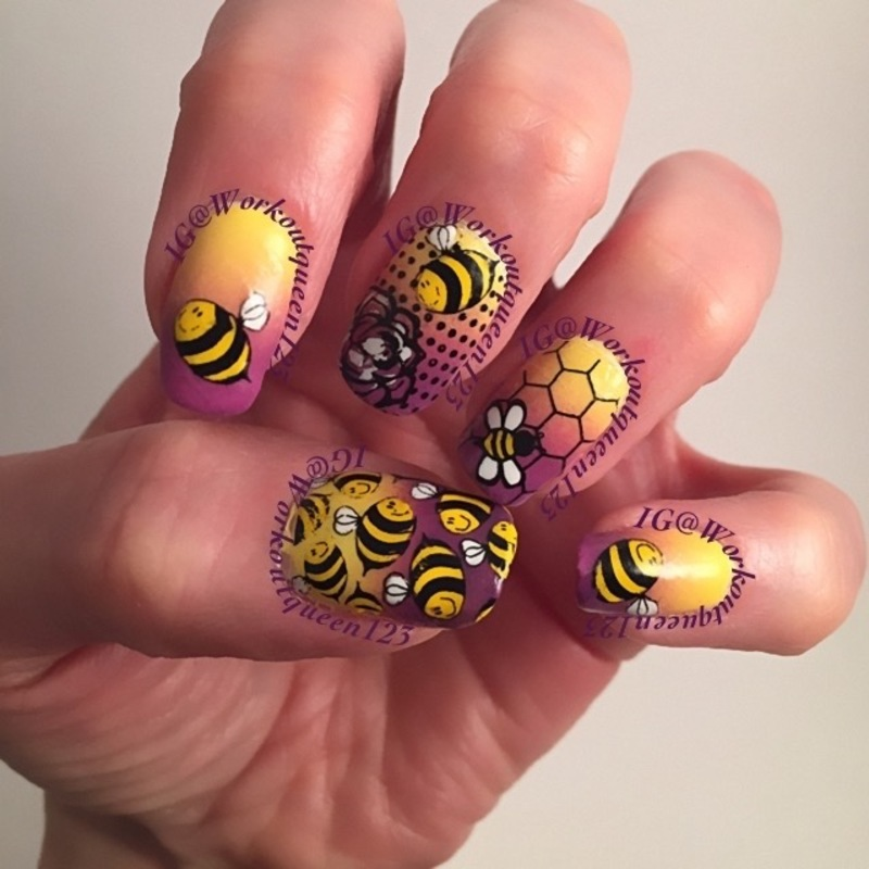 Bees and  Honey nail art by Workoutqueen123
