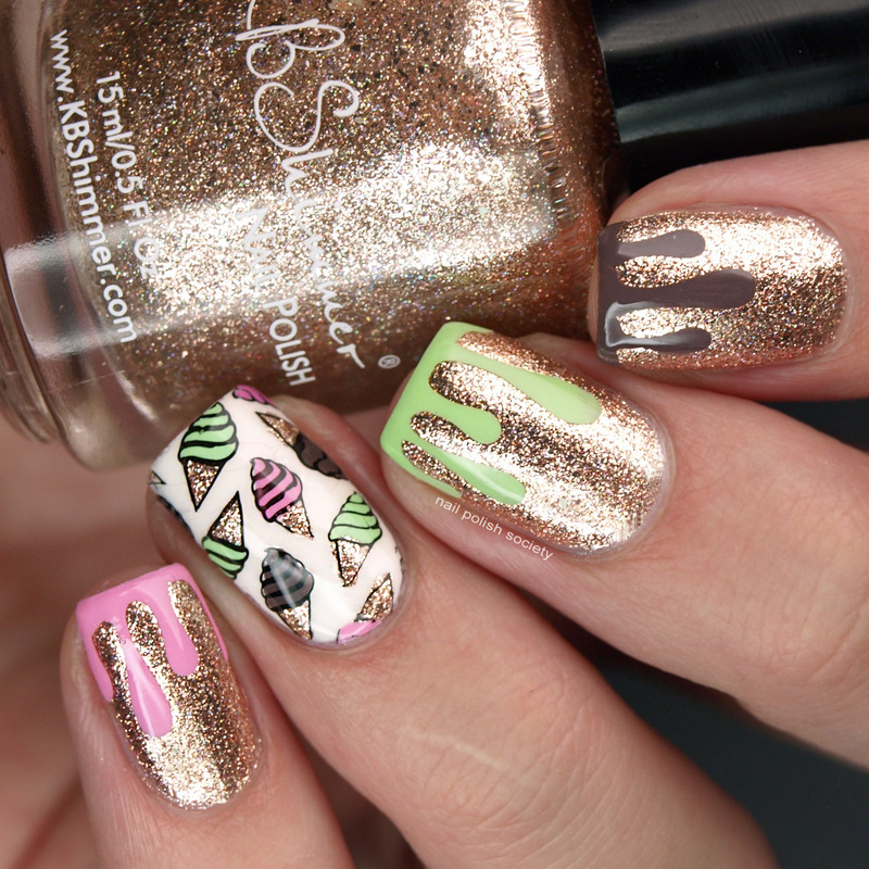 Dripping Spumoni Ice Cream Nails nail art by Emiline Harris