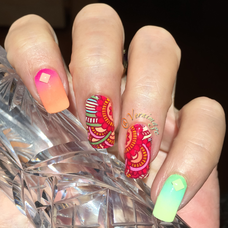 Gradients and advance stamping nail art by Vernimage