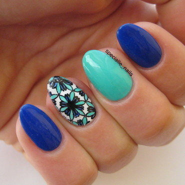Min&blue  nail art by specialle