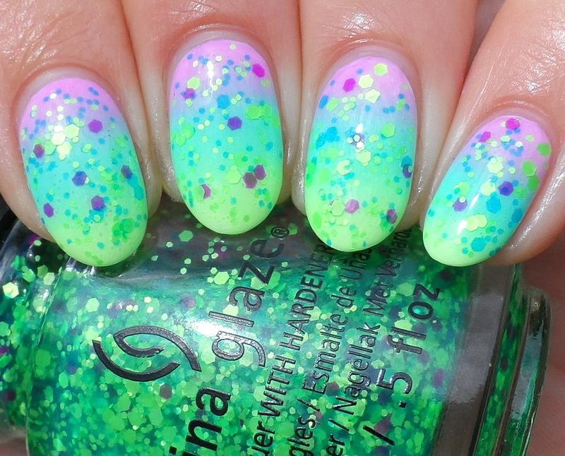 Neon Gradient & Neon Glitter nail art by Plenty of Colors