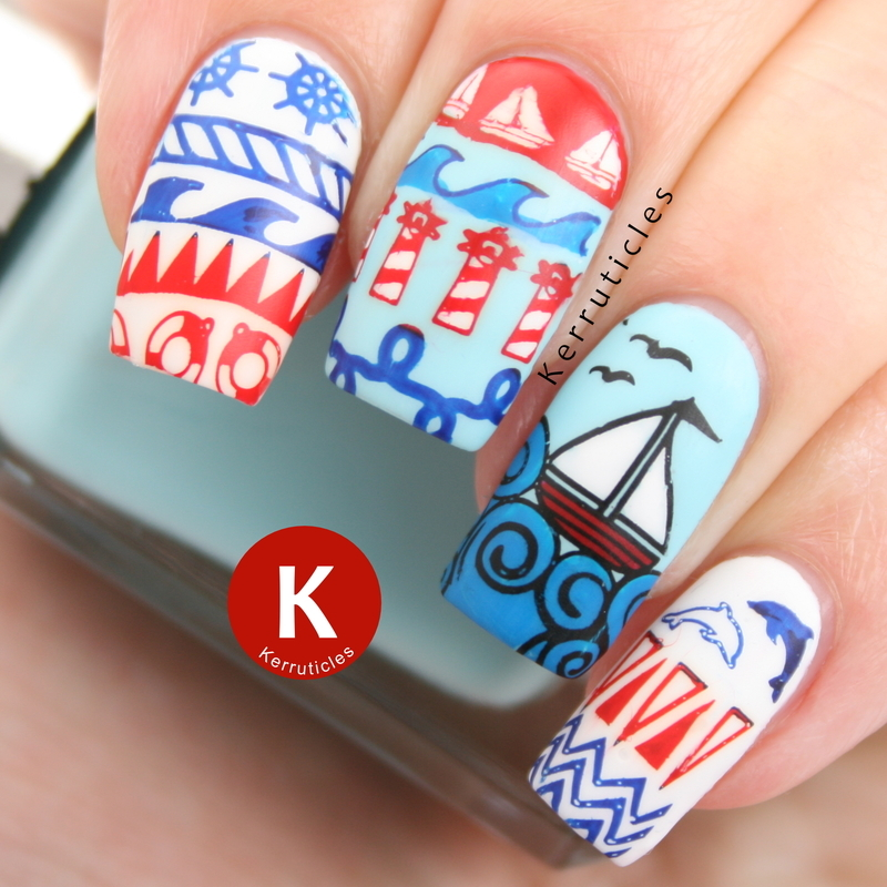 Nautical nails nail art by Claire Kerr