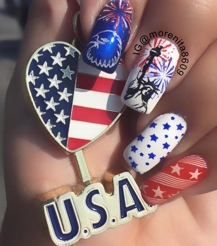 Happy 4th of July everyone 🇺🇸🇺🇸 nail art by Morenita  Morena