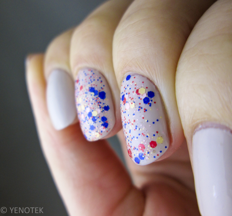 Multicolour glitter over beige nail art by Yenotek