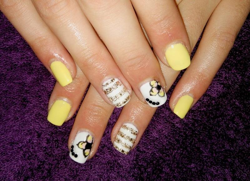 yellow gel nails nail art by vesna