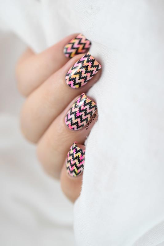 Neon dry brush & chevrons tutorial nail art by Marine Loves Polish