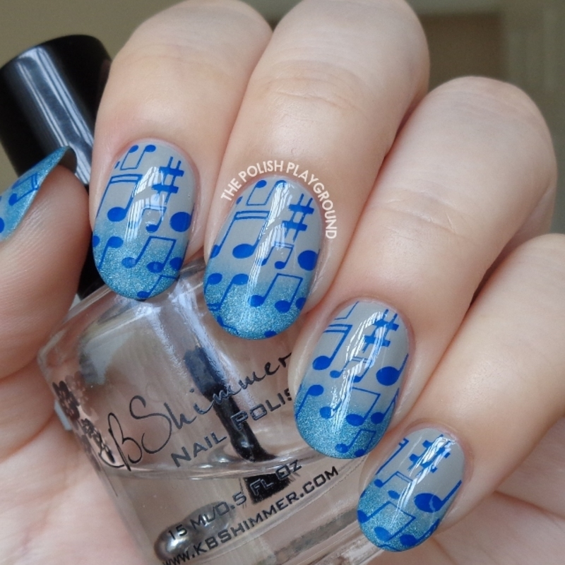 Blue Holo Gradient Tips with Musical Notes Stamping nail art by Lisa N