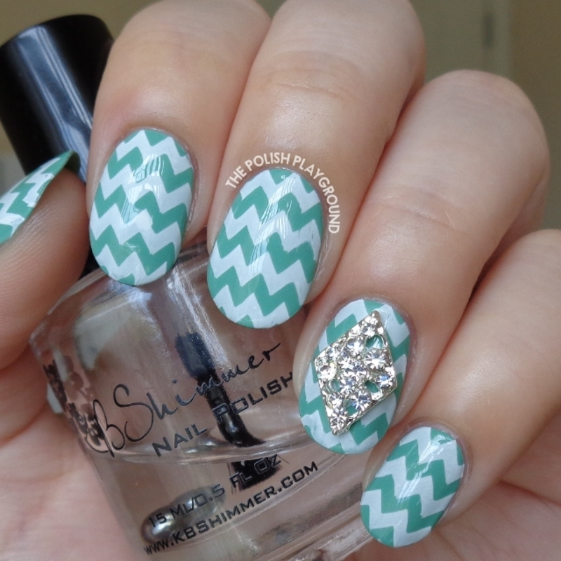 Green and White Chevron Stamping nail art by Lisa N